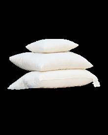 Stack of 3 White Lotus Wool Pillows in white