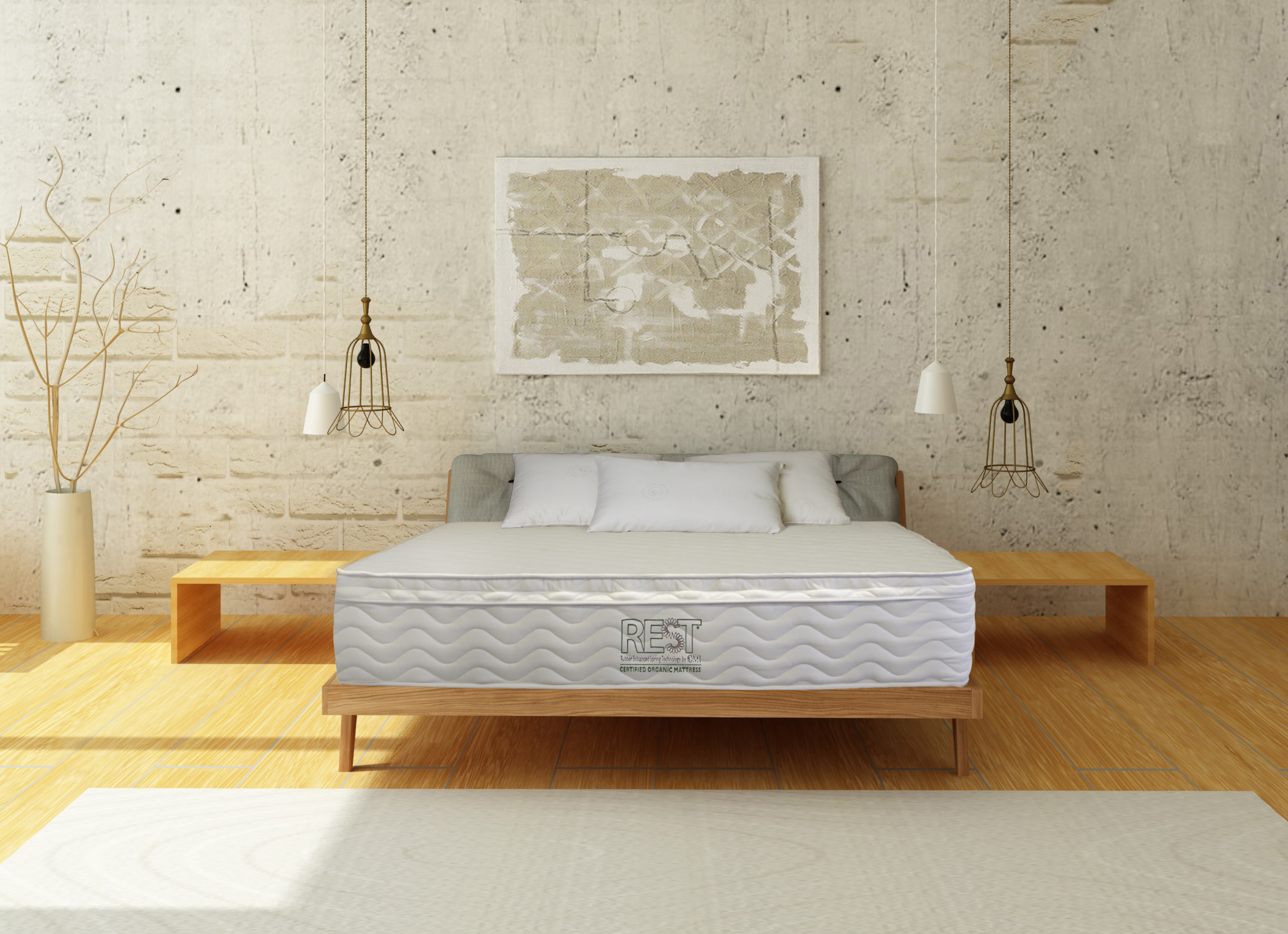 Display room with pale wooden finsihes and OMI Rossa Pocket Coil Organic Mattress